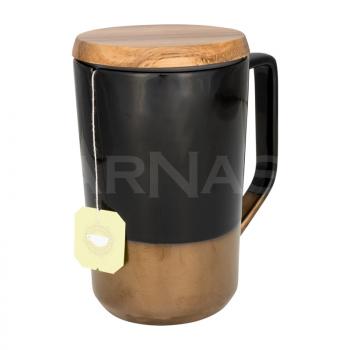 Keramikas tējas krūze ar koka vāku TAHOE