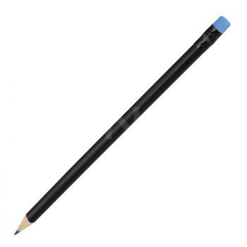 Koka zīmulis, melns ar krāsainu dzēšgumiju